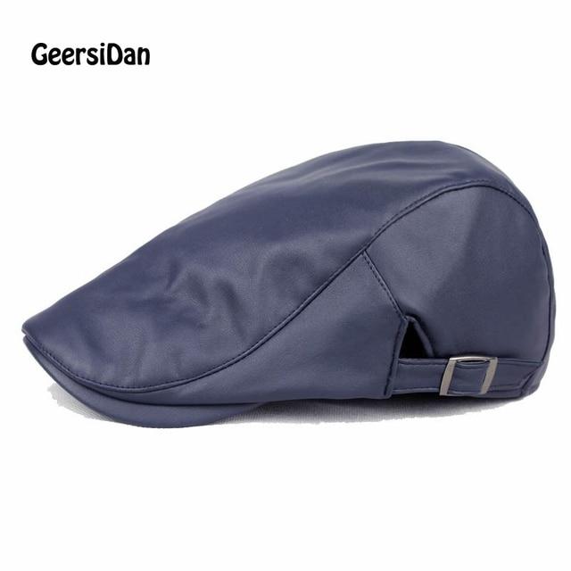 Geersidan invierno otoño artificial pu cuero Beret sombrero hombres mujeres  moda plana visera gorras boina negro 67c57786c1b