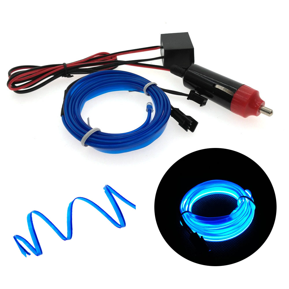 Luces de coche 6mm Borde de costura luz de neón decoración de coche iluminación Flexible EL cable cuerda tubo LED tira enchufe de encendedor de coche enchufe