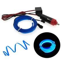 Luces de neón de borde de costura de 6mm para decoración de coche, iluminación Flexible, tubo de cable, tira LED, enchufe de encendedor de coche