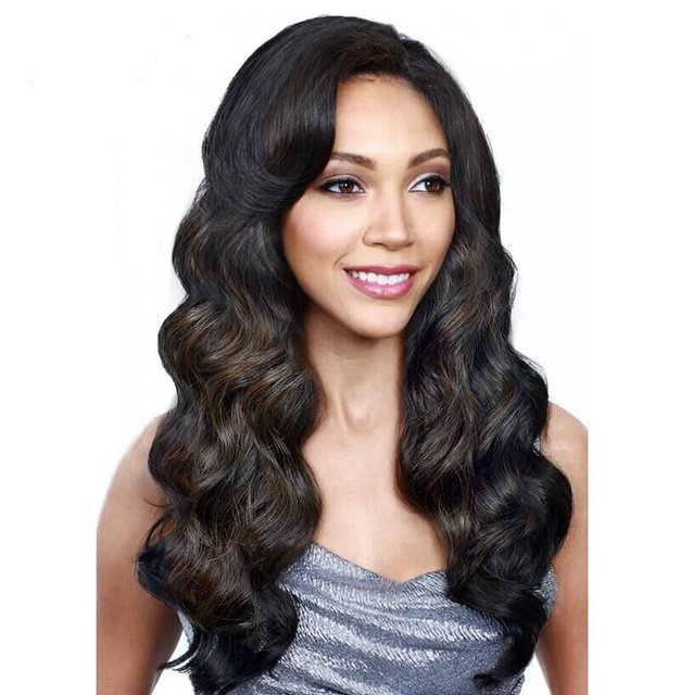 Wavy long wigs with side bangs