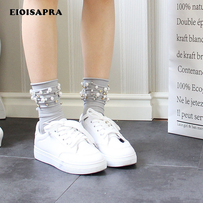 [EIOISAPRA]Gorgeous Handmade Pearl Heap Heap New Korean Arrived Socks Women Harajuku Reto Edge Sokken Candy Color Fashion Socks
