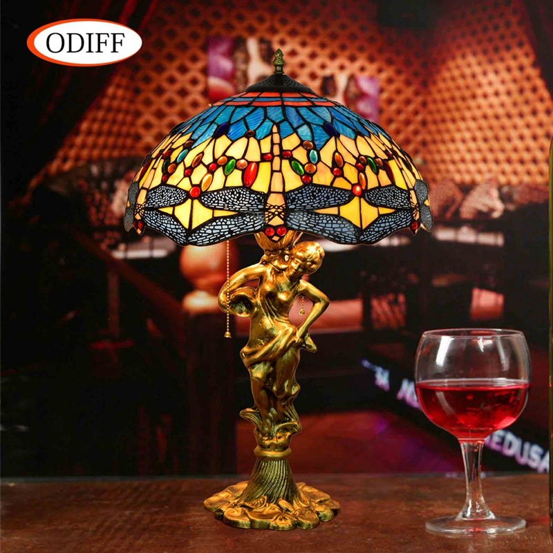 ODIFF European luxury creative garden Stained glass living room Blue Dragonfly Table Lamps Bar bedroom Hote art lamp 90-260V