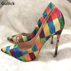 Real Photos Bright Gingham High Heels Woman Pumps For 2018 Chic Mixed Colors Shallow Woman Prom Dress Shoe Gladiator Pumps