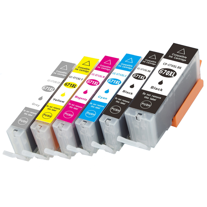 INK WAY 6 x compatible ink PGI-670 XL CLI-671XL GY set PIXMA MG7760 MG7765 MG7766,2 SETS 1 LOT,free shipping 1set 5pcs pgi 670 cli 671 empty refillable ink cartridges for canon pgi670 cli671 pixma mg5760 mg7760 mg6860