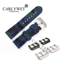 CARLYWET 24mm Wholesale Camo Blue Waterproof Silicone Rubber Replacement Wrist Watch Band Strap Belt With Buckle