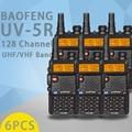 (6 pcs) baofeng uv5r ham two way radio walkie talkie dual-band transceiver (preto)