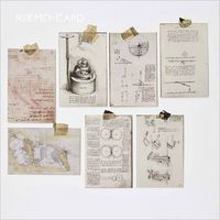 30Pcs Pack Retro Vinci Notes Manuscript Artwork Nostalgic Past Postcard Greeting Card Envelope Gift Birthday Card