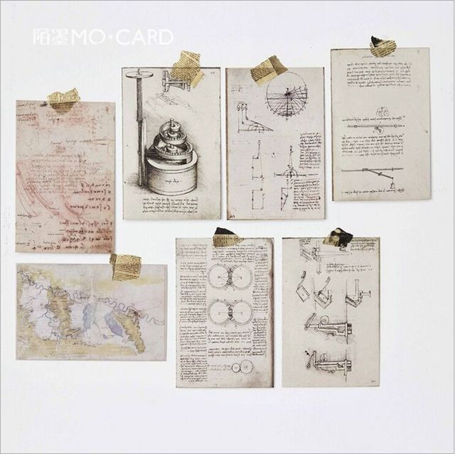 30Pcs Pack Retro Vinci Notes Manuscript Artwork Nostalgic Past Postcard Greeting Card Envelope Gift Birthday Message