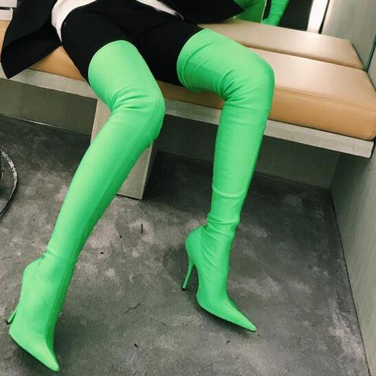 82a97fdfdda Sexy Pointed Toe Stiletto Heel Satin Boots Slim Fit Elastic Stretch Thigh  High Boots Fashion Color Women Shoes