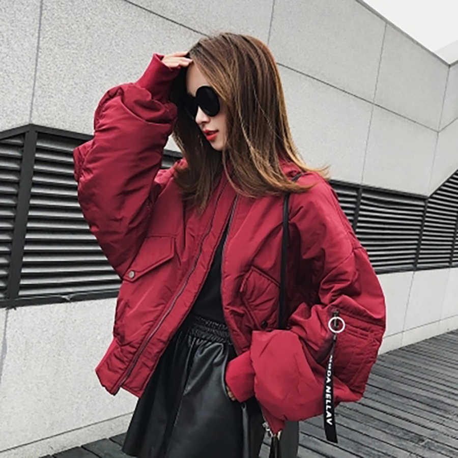 Loose Winter Bomber Jacket Women Short 2018 Coat Streetwear