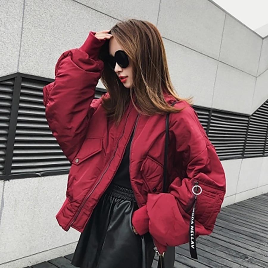 65f853fbb US $44.15 45% OFF Loose Winter Bomber Jacket Women Short 2018 Coat  Streetwear Bolero Jackets Korean Oversized Baseball Jacket Women Black  50B0086-in ...