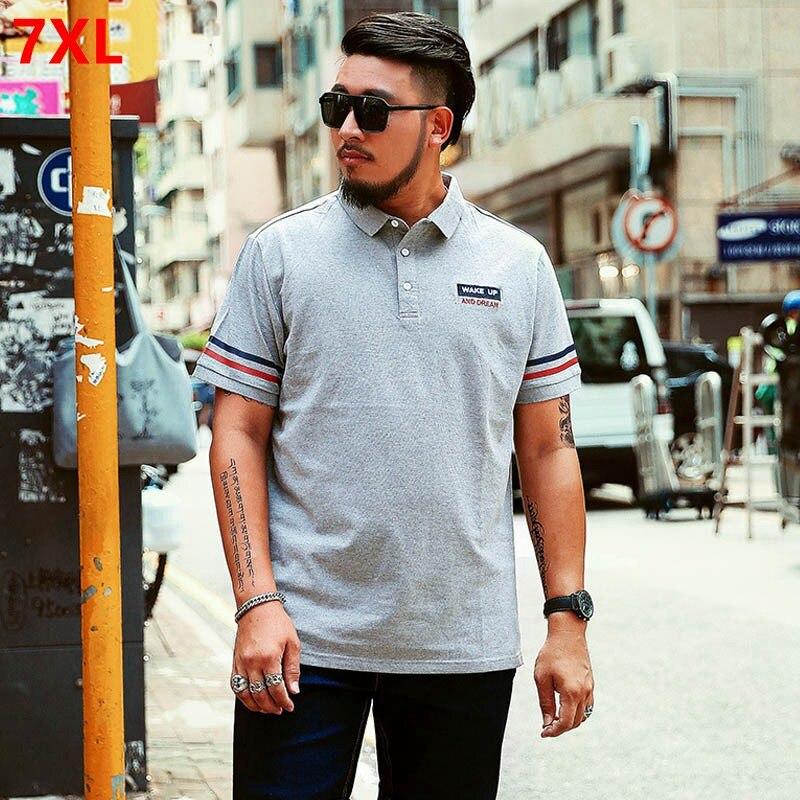 Large size short sleeve plus size 7XL 6XL 5XL 4XL male   polo   shirt large loose half sleeve shirt men's summer