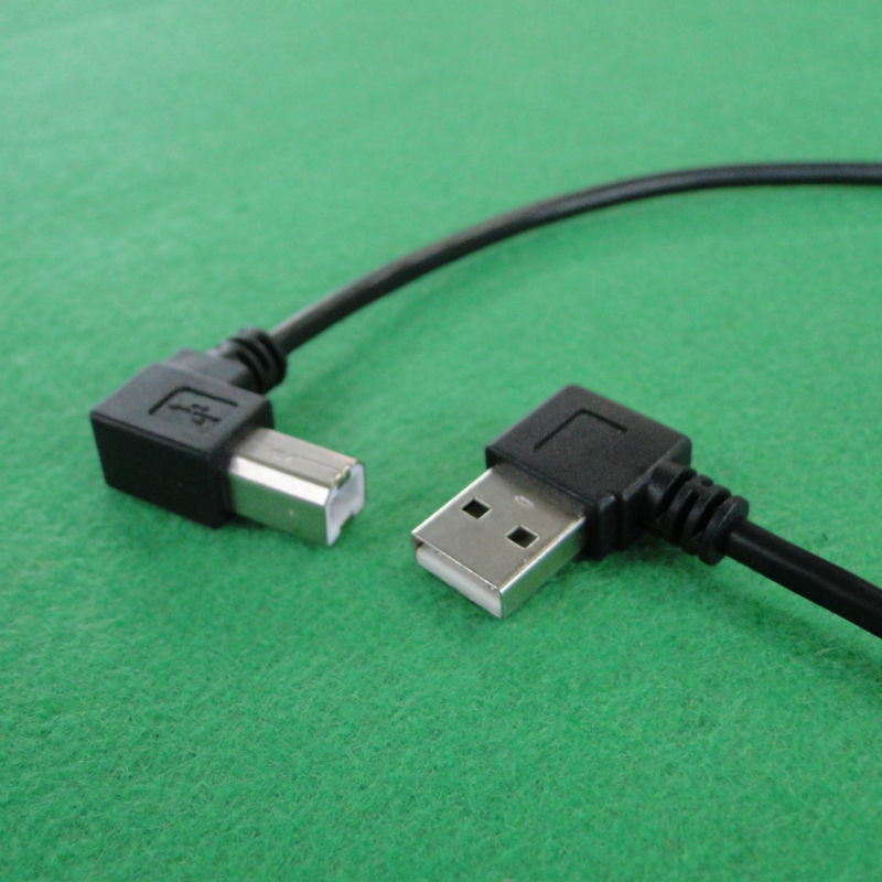 Alta calidad USB2.0 A macho izquierda 90 grados codo A USB B 90 grados impresora escáner línea de datos doble codo 0,5 m 1,0 m
