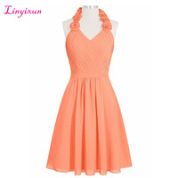 Linyixun Real Photo A Line Homecoming Dresses 2017 Halter Chiffon Vestido De Formatura Curto Flowers Short