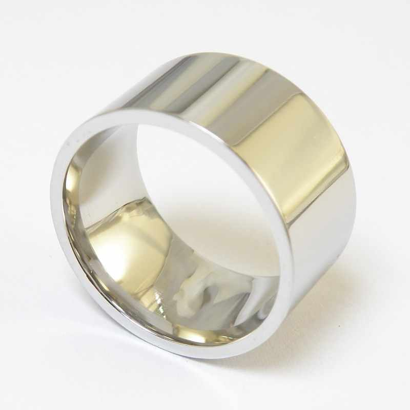 Quality Protection 12mm High Polished Stainless Steel Super Wide Flat Ring for Men Women Polished Mirror Biker Rings Punk