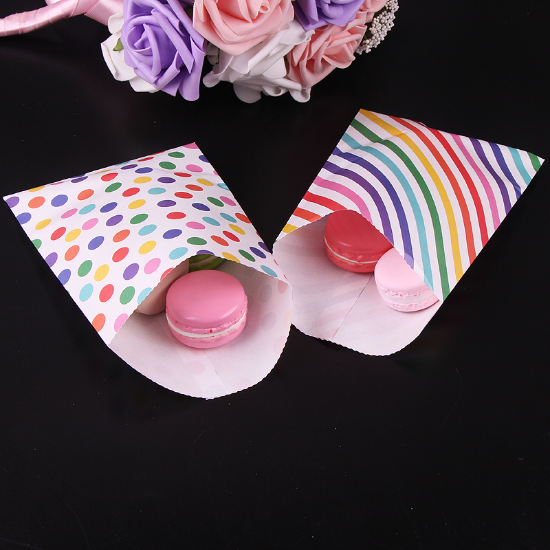 24pcs/lots 12x16cm Rainbow Gift Bags Kraft Paper Candy Bags Paper Biscuit Bags Baby Shower Party Food Packaging Party Supplies