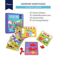 MiDeer Kids Wooden Discover Shapes Jigsaw Puzzle 36PCS Educational Toys for Children Girls Boys Birthday Gift