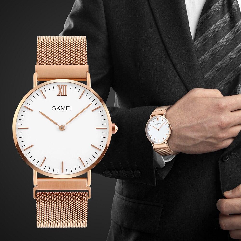 SKMEI Brand Golden Watches Men Quartz Fashion Casual Watch Full Steel Women Lover Couple Ultra Thin Waterproof Wristwatches