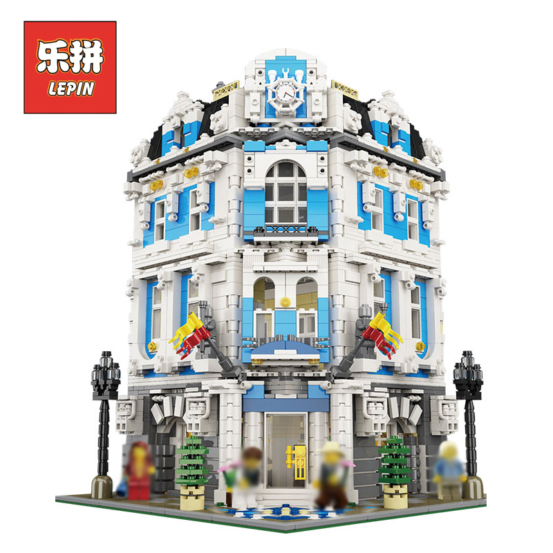 Genuine City Creative Series LEPIN 15018 Large House Sunshine Hotel Model Building Blocks Bricks Set DIY Plastic Toys for Child new 3196pcs lepin 15018 moc city series the sunshine hotel set building blocks bricks educational toys diy children day s gift