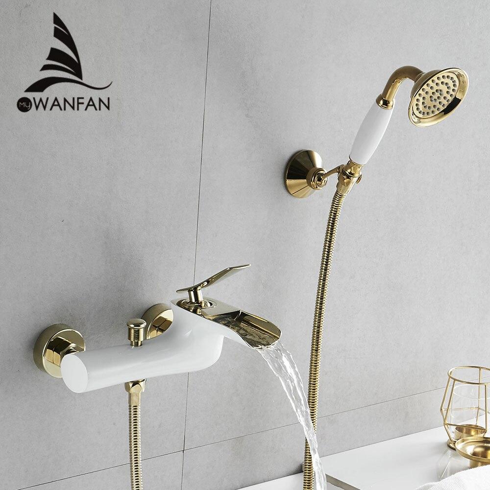 Torneiras da banheira Chrome Bath Shower Set Branco Chuveiro Set Banheira Torneira Misturadora Dupla WF-6019 Contral Chuveiro Fixado Na Parede Para Casa de Banho