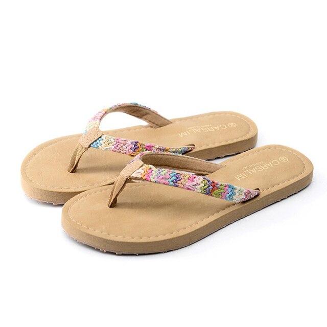 Summer straw braid flat ladies slippers outdoor fashion flip flops casual  sweet women's beach sandals