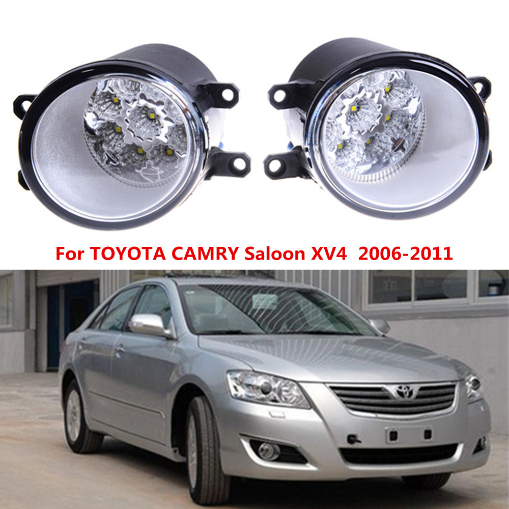 For TOYOTA CAMRY Saloon XV4  2006-2011 Car styling front bumper LED fog Lights high brightness fog lamps 1set  led front fog lights for dacia logan saloon ls 2004 2011 2012 car styling bumper high brightness drl driving fog lamps 1set