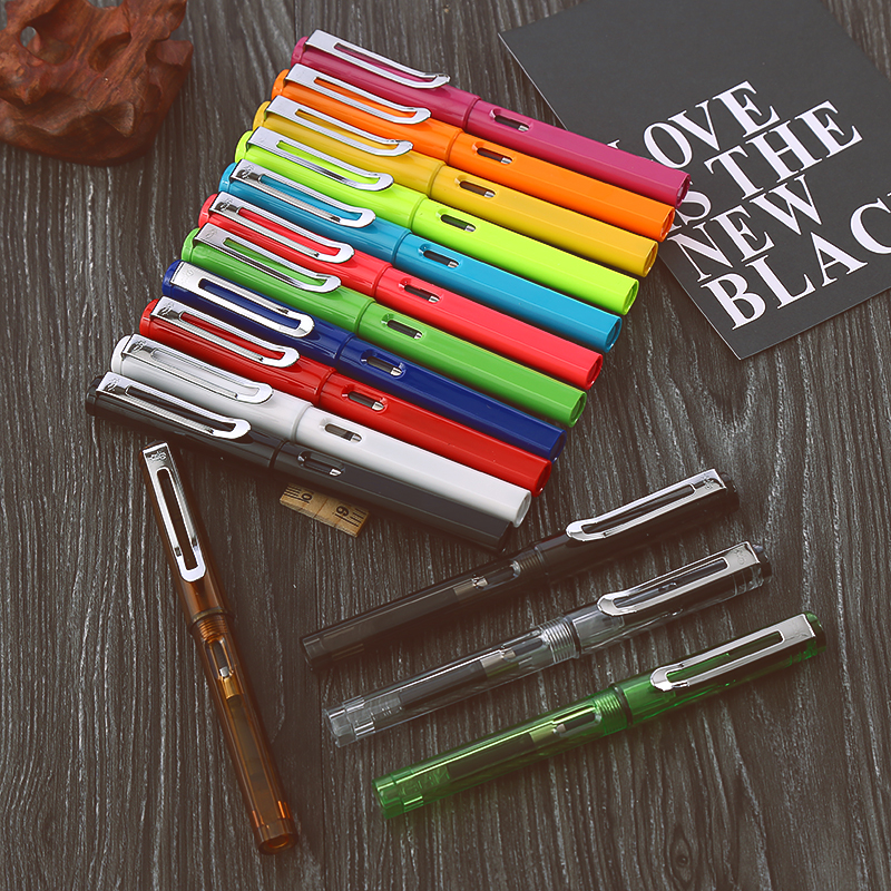 Kawaii Candy Colorful Plastic Fountain Pen 0.5mm Ink Pens F Nib Standard Type Stationery School & Office Supplies