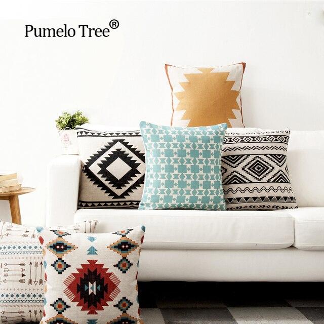 Ordinaire Nordic Blue Sofa Cushions Cover Linen Cotton Bohemian Ethnic Throw Pillows  Covers Grey Decoration Geometric Cushions