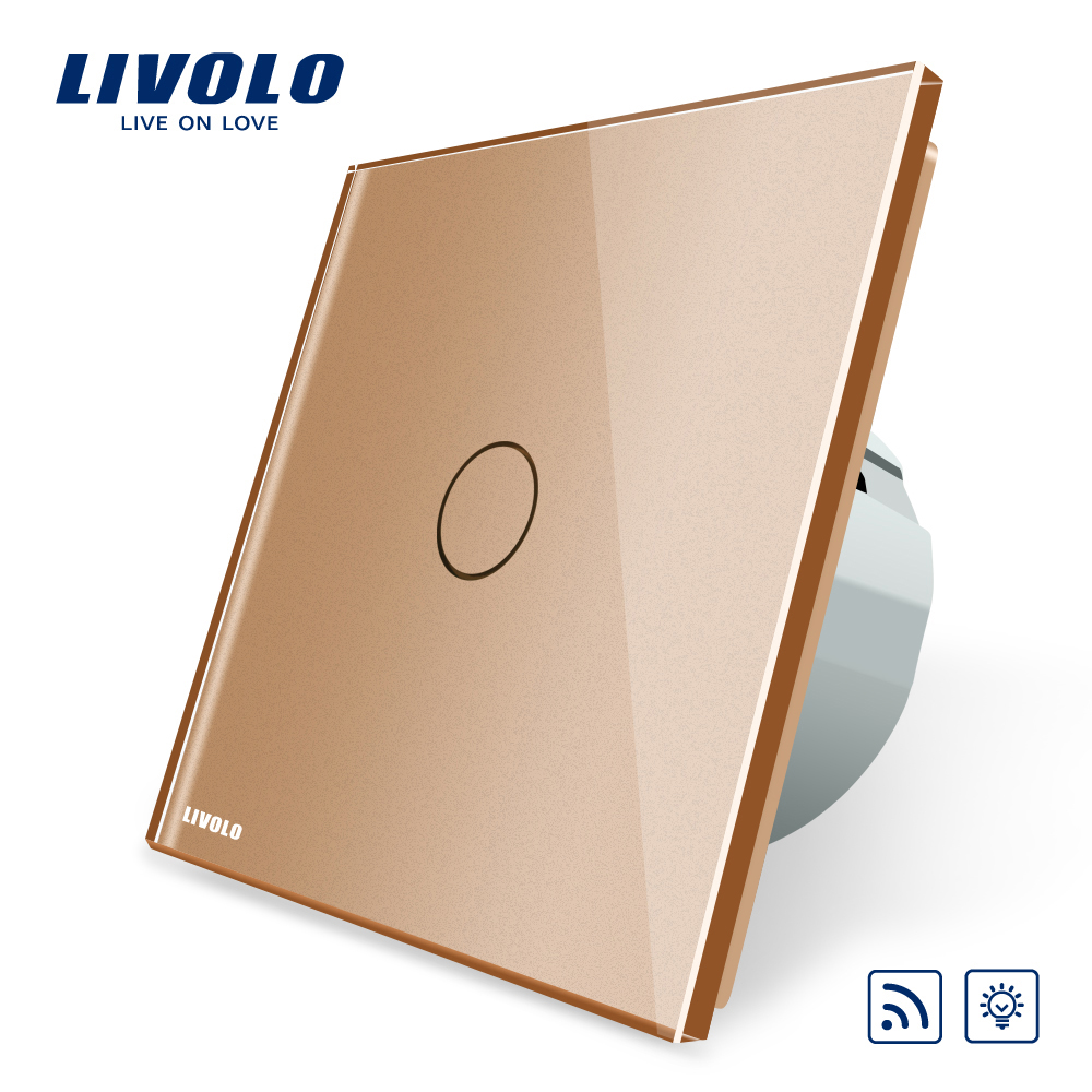 Livolo EU Standard  Remote with Dimmer Function Wall Light Switch, VL-C701DR-13, Golden Glass Panel, (No Remote controller) eu plug 1gang1way touch screen led dimmer light wall lamp switch not support livolo broadlink geeklink glass panel luxury switch