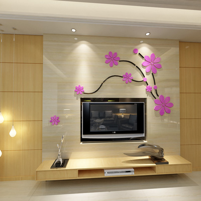 Cherry blossoms Fly TV backdrop Acrylic crystal 3d wall stickers Bedroom Living Room Wall sticker