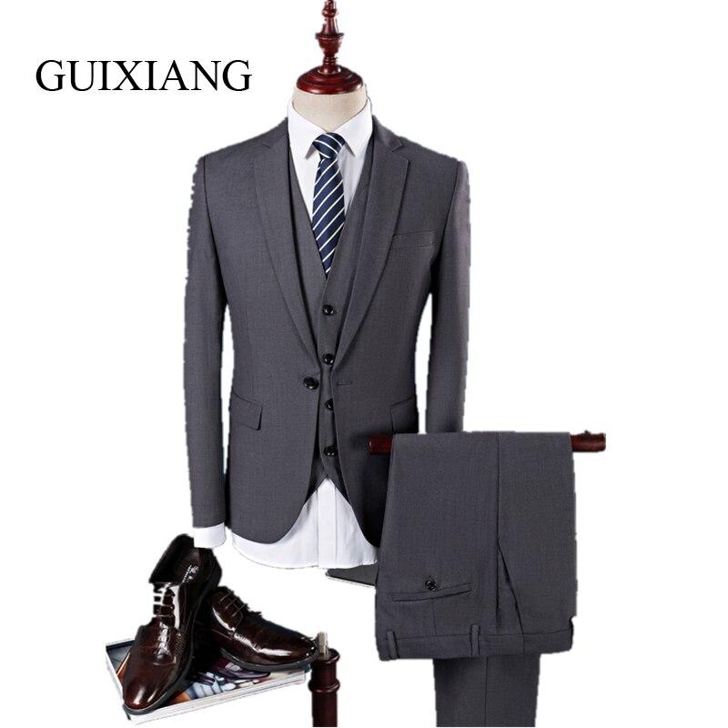 새로운 계절 남자 패션 단색 정장 패션 비즈니스 정장 단일 버튼 남성 웨딩 정장 대형 (자켓, 조끼와 바지)