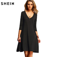 SHEIN New Arrival Spring Casual Design Brand Online Clothes Store Womens Clothing Sexy Black V Neck