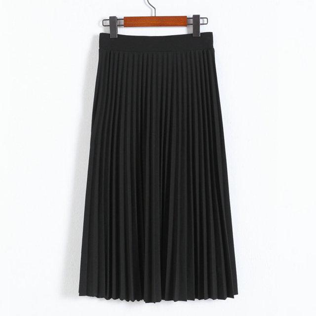 Women Pleated Skirts High Waist Chiffon Skirt