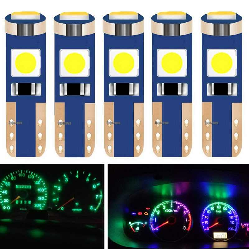 5pcs T5 W3W W1.2W 70 73 74 79 85 Super bright 3030 LED Car Dashboard warming indicator Wedge Light Bulb Auto Instrument Lamp 12V