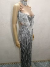 White Tassels Sparkly crystals Dress sexy Occident Bar Female singer DJ DS costume party celebration performance one piece dress