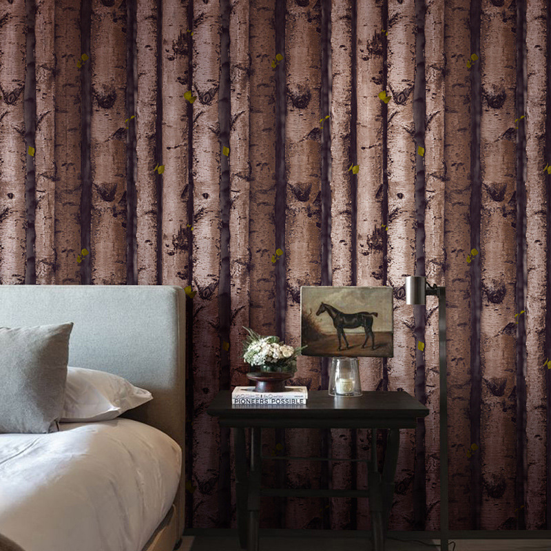 beibehang Personality Wooden Pile White Birch Trees Trees House Balls Bark Leather Wallpaper Vintage Modern Chinese Wallpaper flame trees of thika