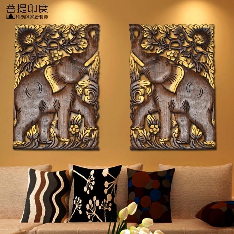 Thai solide bois fait à la main salon fond décoratif plaque pendentif asie du sud-est ornement mural éléphant