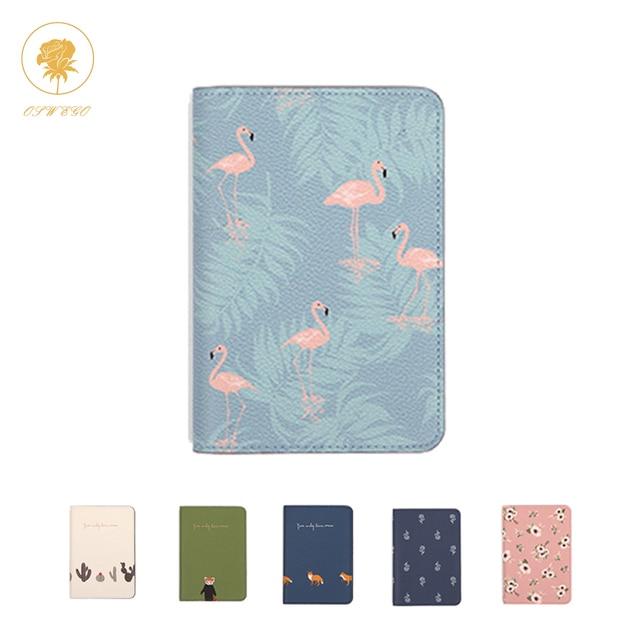 OSWEGO Passport Cover Cute Printing  Women Card Holder Passport Holder PU Pink Leather Card Holder Passport Cover Travel  2018