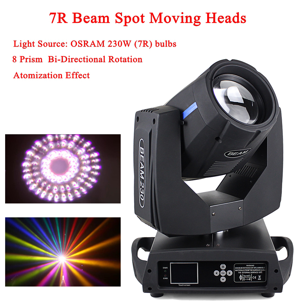 230W 7R Spot Beam 2IN1 Moving Head Light Equipment 8500K Color Temperature Moving Head Spot Dj Disco Party Lighting