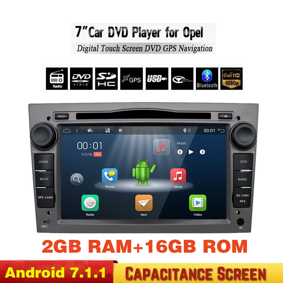 Android 7.1.1 2 DIN Audio DVD GPS pour Vauxhall Opel Astra H G J Vectra Antara Zafira Corsa Multimédia écran autoradio stéréo 4G
