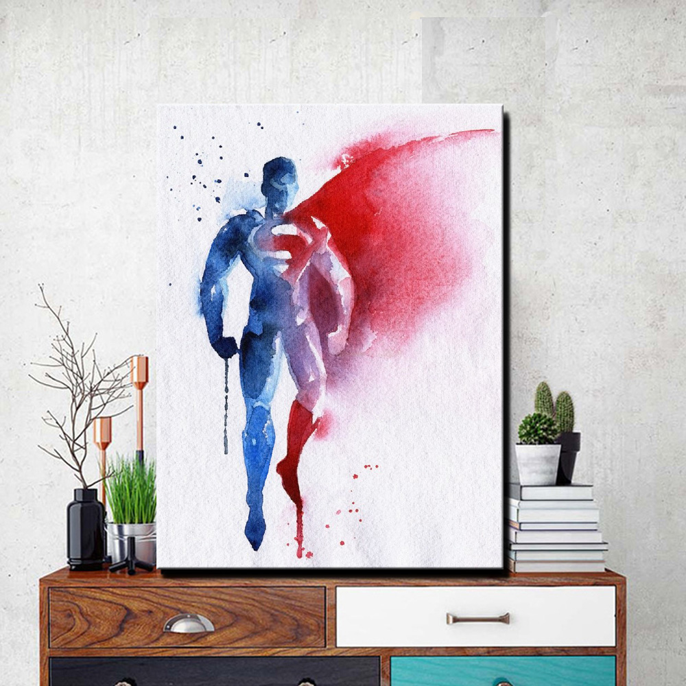 Superman Wall Posters For Kids Room Decor Unframed Watercolor Abstract Superman Home Decorative Pictures For Living Room Wall
