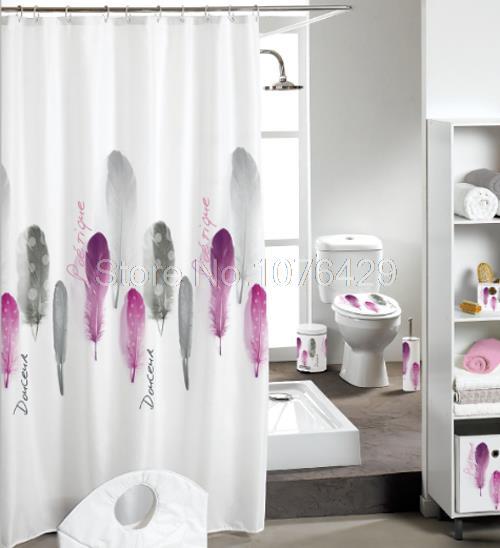 rideau de douche plume cr ative motif salle de bain tanche mildewproof polyester tissu avec 72. Black Bedroom Furniture Sets. Home Design Ideas