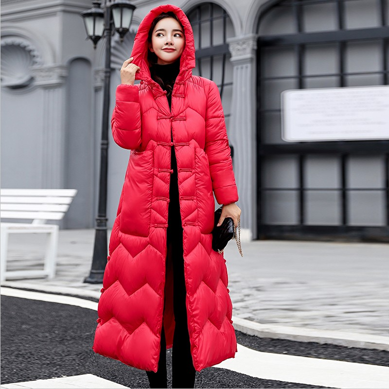 2019 New Winter X-Long Women   Parkas   Hooded Thick Cotton Slim Jackets Work Keep Warm Long Coats Plus Size XL Padded Female Jacket