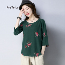2018 National style cotton embroidery large size loose T shirt