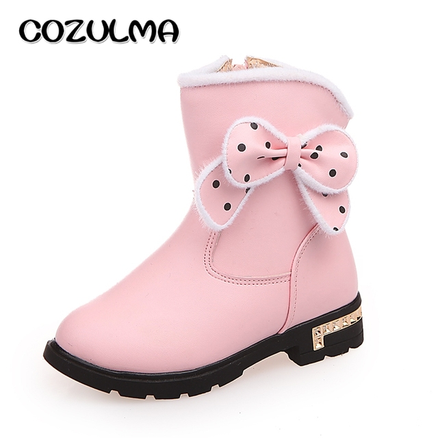 019caadd54538 COZULMA Winter Girls Shoes Boots Kids Princess Bow Tie Party Boots Children  Girls Dress Shoes Mid-Calf Cotton-Padded Snow Boots