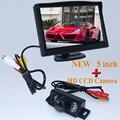 HD Monitores Aparcamiento, CCD de Reserva del Revés de la Cámara del Vehículo de La Visión Nocturna Auto Con 5 pulgadas de Coches Retrovisor Monitor