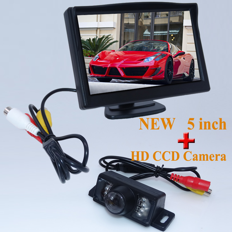 HD Parking <font><b>Monitors</b></font>, LED Night Vision Auto Reverse Backup CCD Vehicle Camera With 5 inch Car Rear View Mirror <font><b>Monitor</b></font>