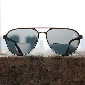 Image 4 - Transition Photochromic Bifocal Reading Glasses Optical Hyperopia Metal Frame UV400 Sunglasses
