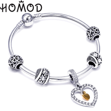 HOMOD Hot Sale Silver White Heart Charm Bangle For Women Fashion DIY Beads Fit Original Brand Bracelet Jewelry Lovers Gift