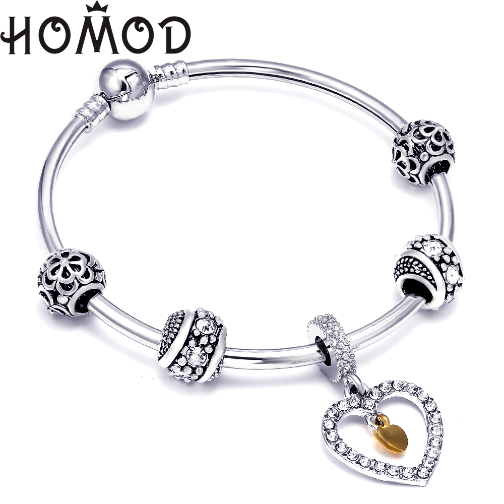 Hot Sale Silver White Heart Charm Bangle For Women Fashion DIY Beads Fit Original Pandora Bracelet Jewelry Lovers Gift